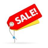 Κόκκινη ετικέττα πώλησης στο λευκό επίσης corel σύρετε το διάνυσμα απεικόνισης Στοκ Φωτογραφίες