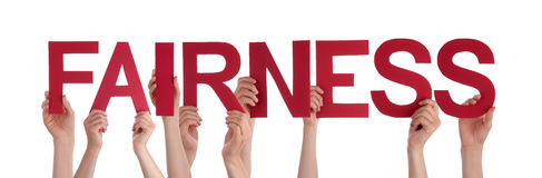 Κόκκινη ευθεία δικαιοσύνη του Word εκμετάλλευσης χεριών ανθρώπων Στοκ Εικόνα