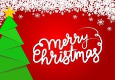 Κόκκινη ευχετήρια κάρτα με το πράσινο διακοσμητικό δέντρο Χριστουγέννων και golde ελεύθερη απεικόνιση δικαιώματος