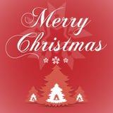 Κόκκινη ευχετήρια κάρτα Χαρούμενα Χριστούγεννας διανυσματική απεικόνιση