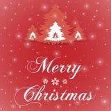 Κόκκινη ευχετήρια κάρτα Χαρούμενα Χριστούγεννας Στοκ Εικόνα