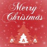 Κόκκινη ευχετήρια κάρτα Χαρούμενα Χριστούγεννας ελεύθερη απεικόνιση δικαιώματος