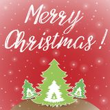 Κόκκινη ευχετήρια κάρτα Χαρούμενα Χριστούγεννας απεικόνιση αποθεμάτων