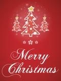 Κόκκινη ευχετήρια κάρτα Χαρούμενα Χριστούγεννας Στοκ Εικόνες