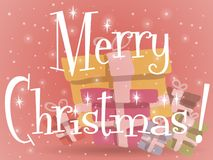 Κόκκινη ευχετήρια κάρτα χριστουγεννιάτικων δώρων ελεύθερη απεικόνιση δικαιώματος