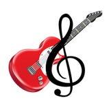 Κόκκινη ηλεκτρική κιθάρα και βασική σημείωση που απομονώνονται Στοκ Φωτογραφίες