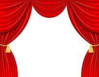 Κόκκινη θεατρική διανυσματική απεικόνιση κουρτινών Στοκ εικόνα με δικαίωμα ελεύθερης χρήσης
