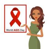 Κόκκινη θηλυκή επίπεδη διανυσματική απεικόνιση συνειδητοποίησης ημέρας του παγκόσμιου AIDS κορδελλών γυναικών Στοκ Φωτογραφίες
