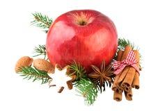 Κόκκινη διακόσμηση καρυκευμάτων Χριστουγέννων της Apple Στοκ εικόνες με δικαίωμα ελεύθερης χρήσης