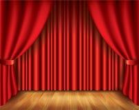 Κόκκινη διανυσματική απεικόνιση κουρτινών Στοκ Εικόνα