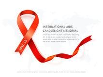 Κόκκινη διανυσματική κορδέλλα συνειδητοποίησης, σύμβολο της ημέρας μνήμης του AIDS που απομονώνεται στο λευκό Στοκ φωτογραφία με δικαίωμα ελεύθερης χρήσης