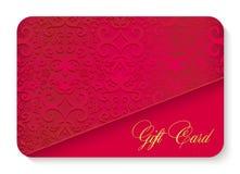 Κόκκινη κάρτα δώρων πολυτέλειας με την εκλεκτής ποιότητας διακόσμηση decorat Στοκ εικόνα με δικαίωμα ελεύθερης χρήσης