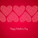 Κόκκινη κάρτα ημέρας βαλεντίνων με τις καρδιές σε κατασκευασμένο Στοκ φωτογραφία με δικαίωμα ελεύθερης χρήσης