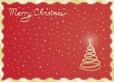 Κόκκινη κάρτα Καλών Χριστουγέννων Στοκ Φωτογραφίες