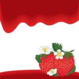 Κόκκινη κάρτα κυμάτων φρούτων φραουλών διανυσματική απεικόνιση