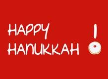 Κόκκινη κάρτα με doughnut για Hanukkah Στοκ Φωτογραφίες