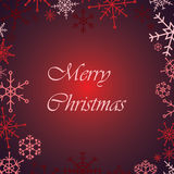 Κόκκινη κάρτα νιφάδων χιονιού Χαρούμενα Χριστούγεννας Στοκ Εικόνα
