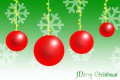Κόκκινη κάρτα σφαιρών Χριστουγέννων απεικόνιση αποθεμάτων