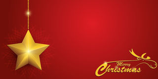 Κόκκινη κάρτα Χριστουγέννων με τον τάρανδο και το αστέρι Στοκ Εικόνες