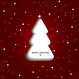 Κόκκινη κάρτα Χριστουγέννων με το άσπρο χριστουγεννιάτικο δέντρο Στοκ εικόνες με δικαίωμα ελεύθερης χρήσης