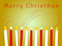 Κόκκινη και άσπρη κάρτα Χριστουγέννων κεριών Στοκ Φωτογραφίες