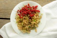 Κόκκινη και άσπρη σταφίδα στο άσπρο πιάτο Στοκ Εικόνα