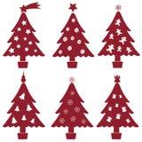 Κόκκινη και άσπρη συλλογή διακοσμήσεων δέντρων Χριστουγέννων Στοκ Εικόνα