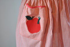 Κόκκινη και άσπρη Gingham ποδιά με τη Apple και το σκουλήκι Applique Στοκ φωτογραφία με δικαίωμα ελεύθερης χρήσης