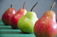 Κόκκινη και πράσινη κινηματογράφηση σε πρώτο πλάνο μήλων σε μια γραμμή Στοκ Φωτογραφία