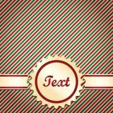 Κόκκινη και πράσινη ριγωτή κάρτα Χριστουγέννων Στοκ Εικόνες