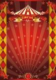 Κόκκινη και χρυσή αφίσα ρόμβων τσίρκων Στοκ Φωτογραφία