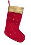 Κόκκινη και χρυσή γυναικεία κάλτσα Χριστουγέννων Στοκ φωτογραφία με δικαίωμα ελεύθερης χρήσης