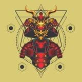 Κόκκινη και χρυσή ιερή γεωμετρία τεθωρακισμένων Σαμουράι ελεύθερη απεικόνιση δικαιώματος