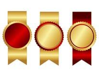 Κόκκινη και χρυσή κενή κορδέλλα σφραγίδων Στοκ φωτογραφίες με δικαίωμα ελεύθερης χρήσης
