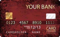 Κόκκινη και χρυσή πιστωτική κάρτα με το αφηρημένο floral υπόβαθρο Στοκ εικόνες με δικαίωμα ελεύθερης χρήσης