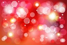 Κόκκινη και χρυσή πρόσκληση επίδρασης φω'των bokeh Χριστουγέννων Στοκ Φωτογραφίες