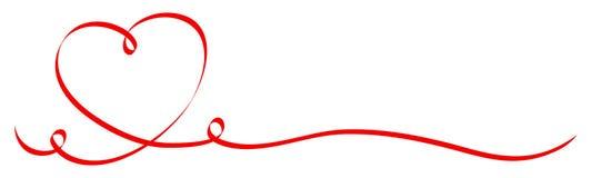 Κόκκινη καρδιά καλλιγραφίας με την κορδέλλα δύο στροβίλων ελεύθερη απεικόνιση δικαιώματος