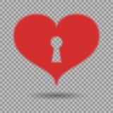 Κόκκινη καρδιά με την κλειδαρότρυπα και σκιά στο απομονωμένο υπόβαθρο Διανυσματικό στοιχείο σχεδίου για την ημέρα του βαλεντίνου, απεικόνιση αποθεμάτων