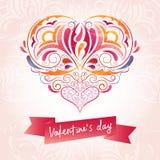 Κόκκινη καρδιά με τη διακόσμηση και το κείμενο ημέρας ` βαλεντίνων ` s ` Στοκ φωτογραφίες με δικαίωμα ελεύθερης χρήσης