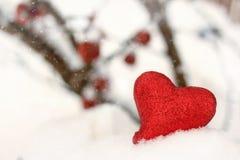 Κόκκινη καρδιά στο χιόνι Στοκ Φωτογραφία
