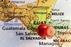 Κόκκινη καρφίτσα πόλεων της Γουατεμάλα σε το Στοκ Φωτογραφίες