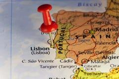 Κόκκινη καρφίτσα στη Λισσαβώνα, Πορτογαλία απεικόνιση αποθεμάτων
