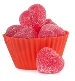 Κόκκινη καρδιά ζελατινών συμβόλων αγάπης με τη ζάχαρη Στοκ Εικόνα