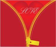 Κόκκινη καρδιά κάτω από ανοιγμένος φερμουάρ Στοκ Φωτογραφίες