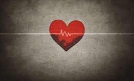 Κόκκινη καρδιά και κτύπος της καρδιάς Στοκ Φωτογραφία