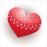 Κόκκινη καρδιά με μια άσπρη διακόσμηση Στοκ εικόνα με δικαίωμα ελεύθερης χρήσης
