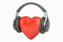 Κόκκινη καρδιά με τα ακουστικά, αγαπημένη έννοια μουσικής τρισδιάστατη απόδοση ελεύθερη απεικόνιση δικαιώματος