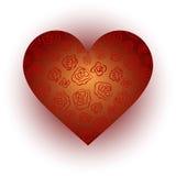 Κόκκινη καρδιά με τα τριαντάφυλλα σε ένα άσπρο υπόβαθρο Στοκ Εικόνες