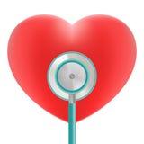 Κόκκινη καρδιά με τη χρήση στηθοσκοπίων για το ιατρικό θέμα καρδιών που απομονώνεται σε ένα άσπρο υπόβαθρο Ρεαλιστική διανυσματικ Ελεύθερη απεικόνιση δικαιώματος