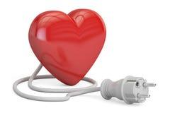 Κόκκινη καρδιά με το ηλεκτρικό βούλωμα, τρισδιάστατη απόδοση ελεύθερη απεικόνιση δικαιώματος